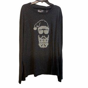PENGUIN Men's Charocal Gray Santa Claus T-shirt